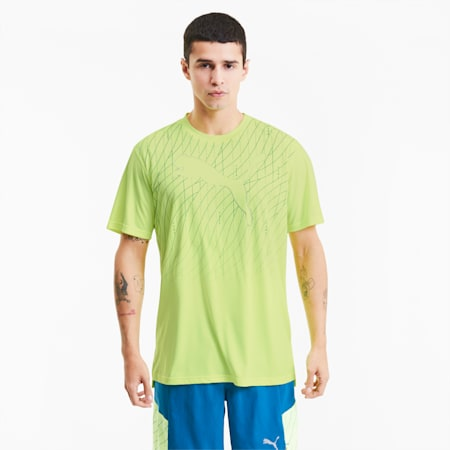 Kurzärmeliges Herren Lauf-T-Shirt mit Cat Grafik, Fizzy Yellow, small
