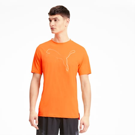 Run Men's Graphic Cat Tee, Ultra Orange, small
