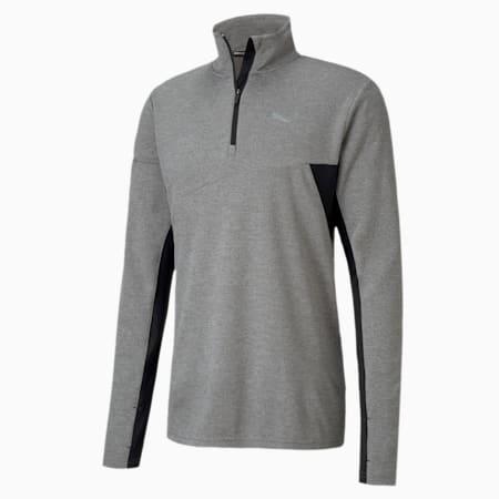 Quarter Zip dryCELL Reflective Tec Men's Running Midlayer, Medium Gray Hthr-Puma Black, small-IND