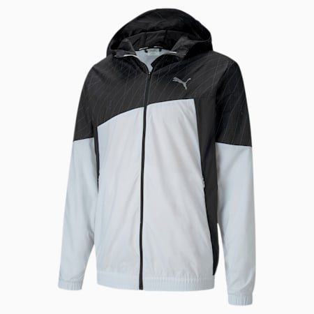 Graphic Hooded Men's Running Jacket, Puma White-Puma Black, small