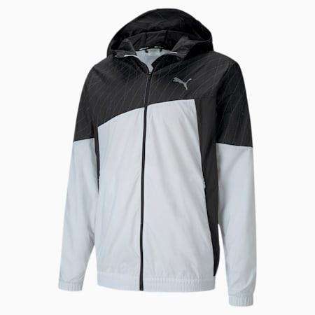 Graphic Hooded Men's Running Jacket, Puma White-Puma Black, small-SEA