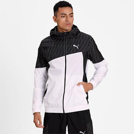 Run Men's Graphic Hooded Jacket, Puma White-Puma Black, small