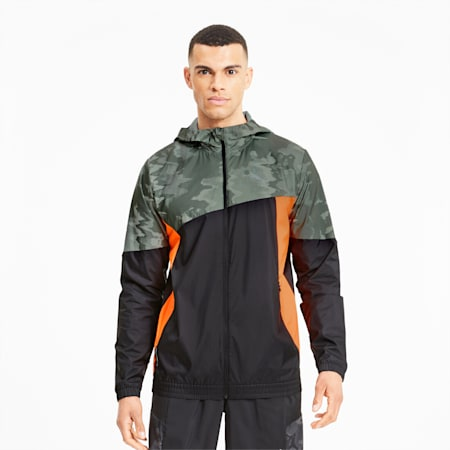 Run Men's Graphic Hooded Jacket, Puma Black-Thyme, small