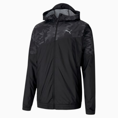 Graphic Hooded Men's Running Jacket, Puma Black, small-SEA