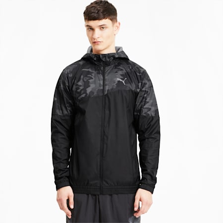 Run Men's Graphic Hooded Jacket, Puma Black, small