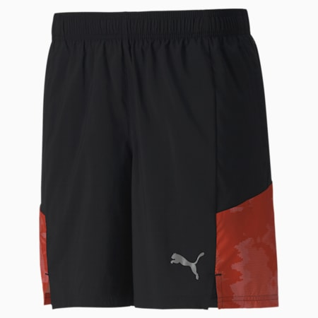 "RUN Graphic Woven 7"" Men's Running Shorts, Puma Black-Warm Earth, small-IND"