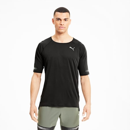 Runner ID Short Sleeve Men's Running T-Shirt, Puma Black, small-IND