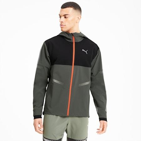 Runner ID Men's Hooded Jacket, Thyme-Puma Black, small