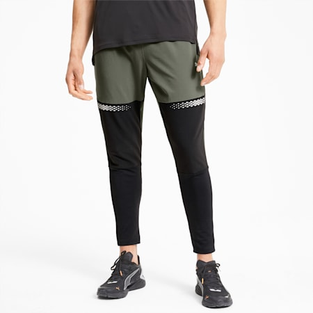 Runner ID Men's Tapered Pants, Thyme-Puma Black, small