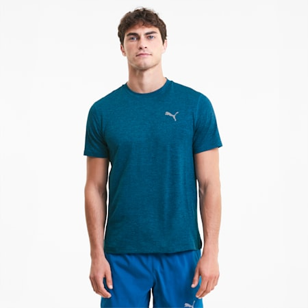 런 헤더 반팔 티셔츠/Run Fav Heather SS Tee, Digi-blue Heather, small-KOR
