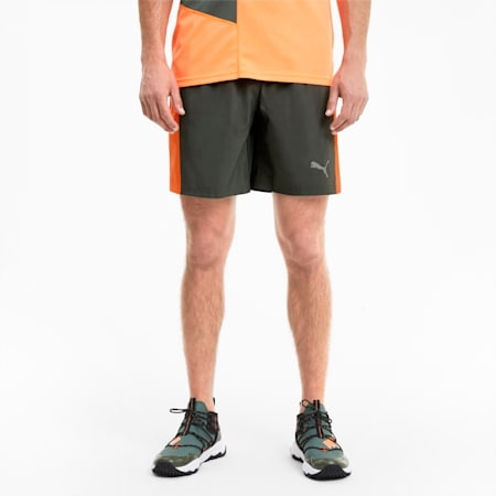 Run Favorite Men's Session Shorts, Thyme-Ultra Orange, small