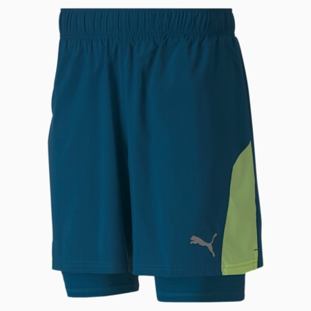 """Favourite Woven 7"""" 2-in-1 Men's Running Shorts, Digi-blue-Fizzy Yellow, small-IND"""