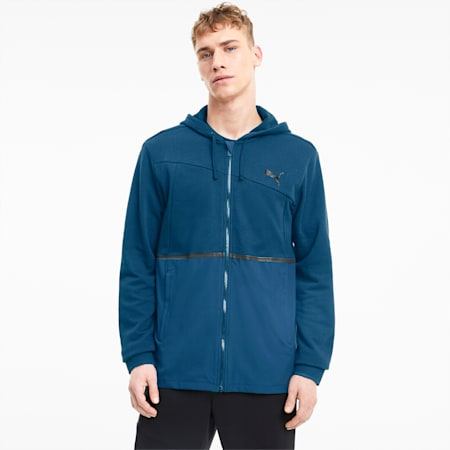 Train Excite Men's Full Zip Knitted Jacket, Digi-blue, small
