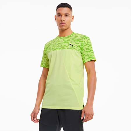 Train Men's Vented AOP Tee, Fizzy Yellow, small