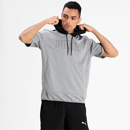Short Sleeve Men's Lightweight Training Hoodie, Medium Gray Heather, small-IND