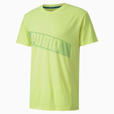 Kurzärmeliges Herren Trainings-T-Shirt mit Grafik, Fizzy Yellow, small