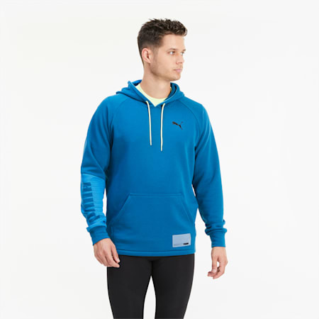 Graphic Knit Men's Training Hoodie, Digi-blue, small