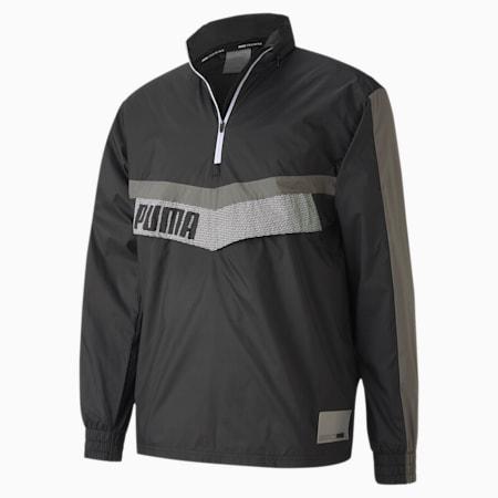 Train Men's Woven Half Zip Jacket, Black-Ultra Gray-Puma White, small