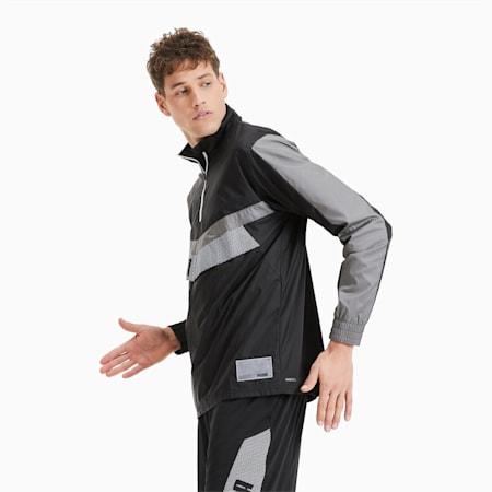 Giacca a vento da training da uomo in tessuto con zip corta, Black-Ultra Gray-Puma White, small