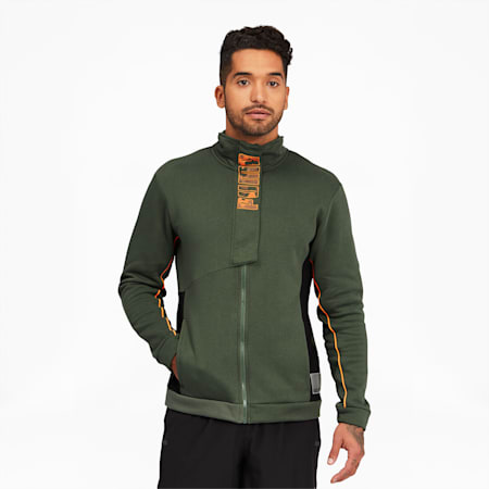 Train Men's Full Zip Knitted Jacket, Thyme, small
