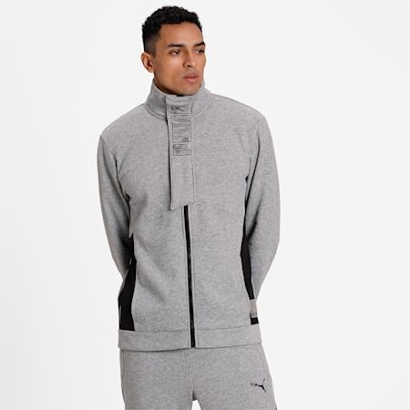 Knitted Full-Zip warmCELL Men's Training Jacket, Medium Gray Heather, small-IND