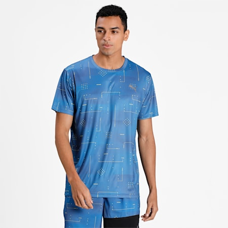 Performance Printed Men's Training Relaxed T-shirt, Star Sapphire-Q2 AOP, small-IND