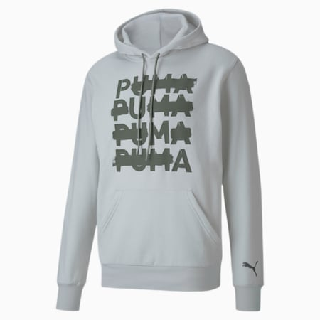 Performance Men's Graphic Hoodie, Vaporous Gray-Thyme PUMA X, small