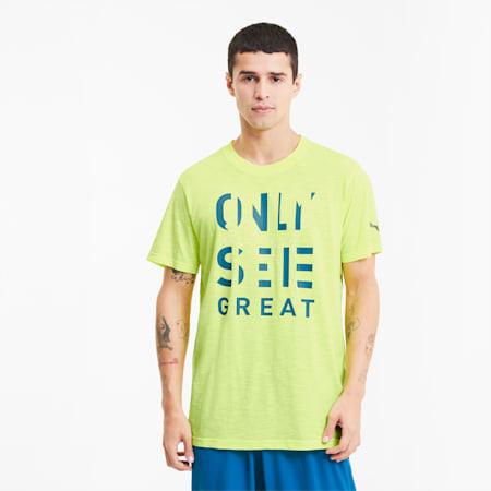 Performance Slogan Men's Training Tee, Fizzy Yellow-Q1 Prt, small-SEA