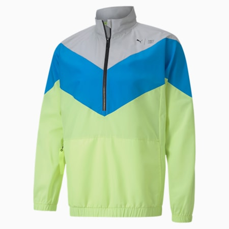 PUMA x FIRST MILE Xtreme geweven trainingsjack voor heren, Gry Vilet-Nrgy Blu-Fizy Yllw, small