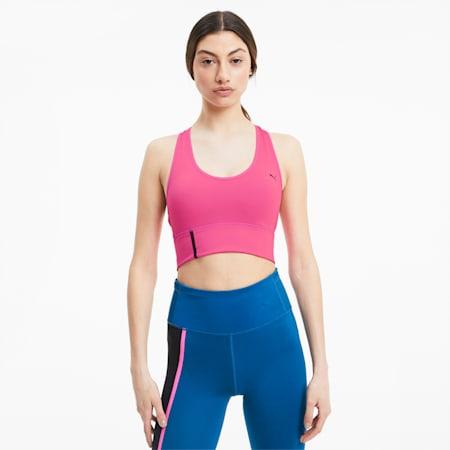 Mid Impact Long Line Women's Bra, Luminous Pink, small-SEA