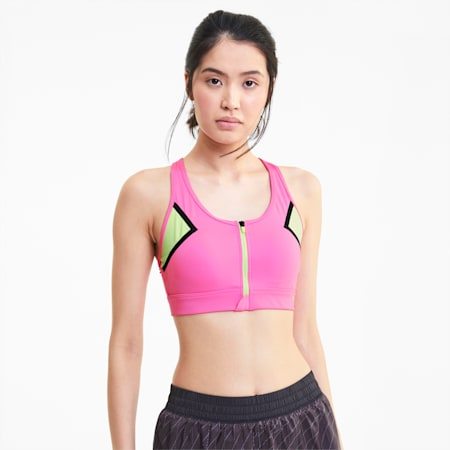 High Impact Women's Front Zip Bra, Luminous Pink, small