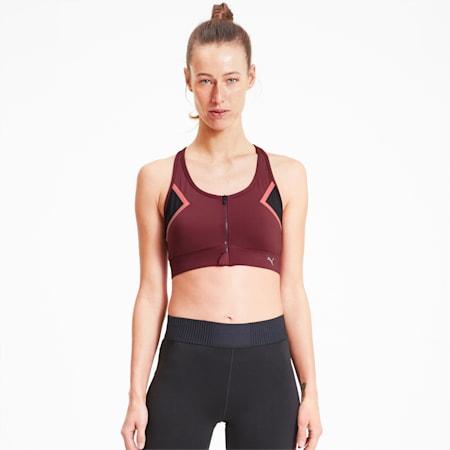 Soutien-gorge de sport High Impact Front Zip femme, Burgundy, small