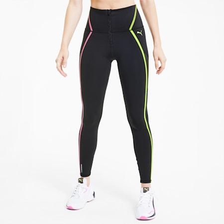 Lange Damen High-Waist-Trainingsleggings mit Reißverschluss und verklebten Nähten, Puma Black-Pink-Yellow, small