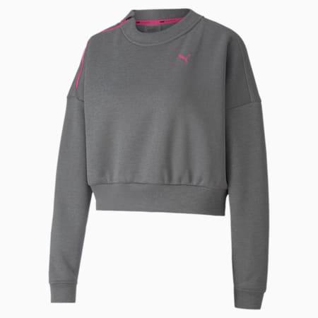 Brave Zip Crew Neck Women's Training Sweater, Medium Gray Heather, small