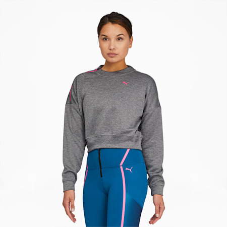 Train Women's Zip Crewneck Sweatshirt, Medium Gray Heather, small
