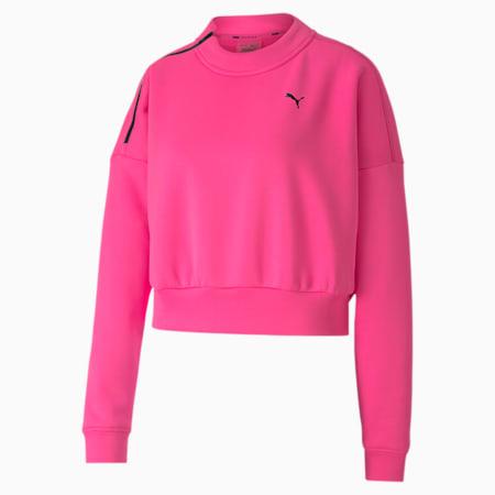 Brave Zip Crew Neck Women's Training Sweater, Luminous Pink, small-SEA
