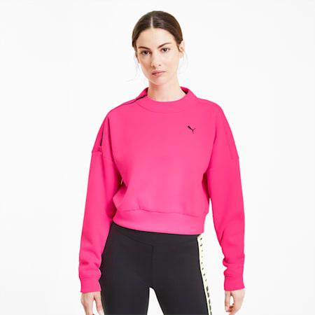 Brave Zip Crew Neck Women's Training Sweater, Luminous Pink, small