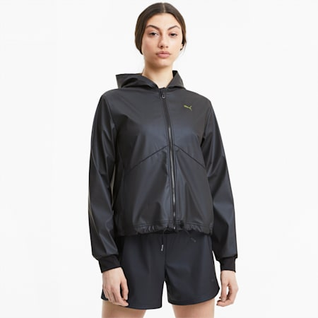 Warm-Up Shimmer Hooded Women's Training Jacket, Puma Black, small