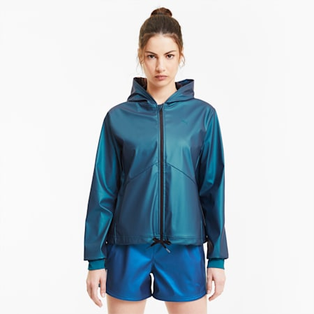 Giacca da training Warm-Up Shimmer con cappuccio donna, Digi-blue, small