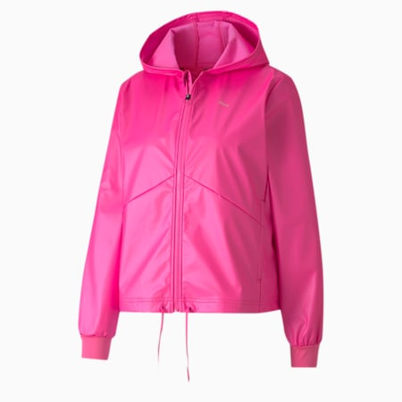 Warm-Up Shimmer Hooded Women's Training Jacket, Luminous Pink, small
