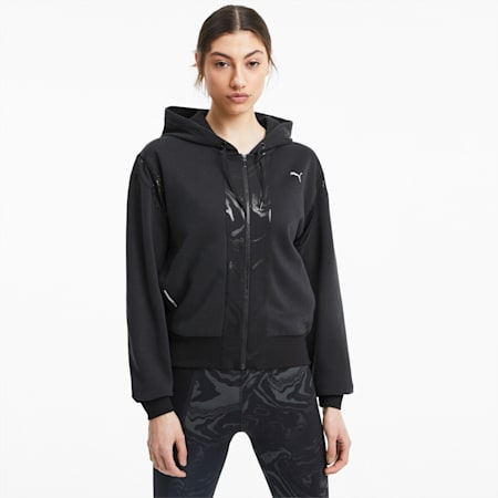 Felpa da training con cappuccio e zip integrale in metallo da donna, Puma Black, small
