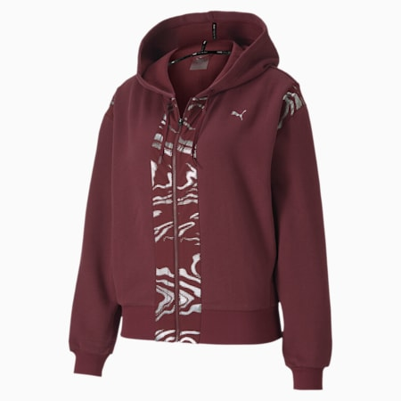 Metallic Full Zip Women's Training Hoodie, Burgundy, small