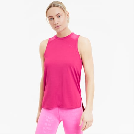Mesh Panel Women's Training Tank Top, Luminous Pink, small