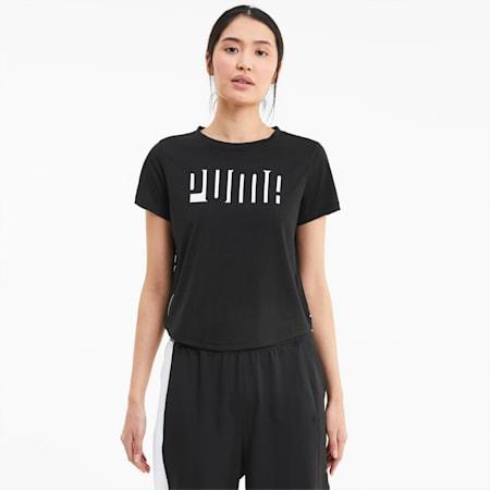 Damen Kurzarm-Trainingsshirt mit Logo, Puma Black, small