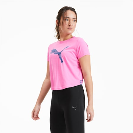 Damen Kurzarm-Trainingsshirt mit Logo, Luminous Pink, small