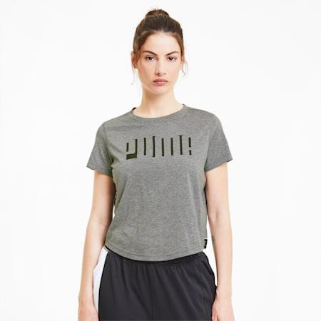 Damen Kurzarm-Trainingsshirt mit Logo, Medium Gray Heather, small