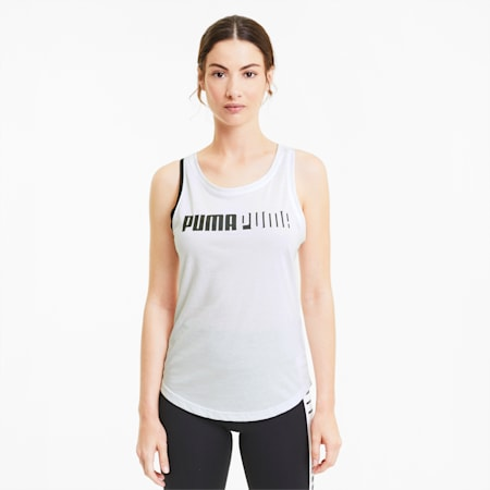 Train Women's Cross Back Logo Tank, Puma White, small