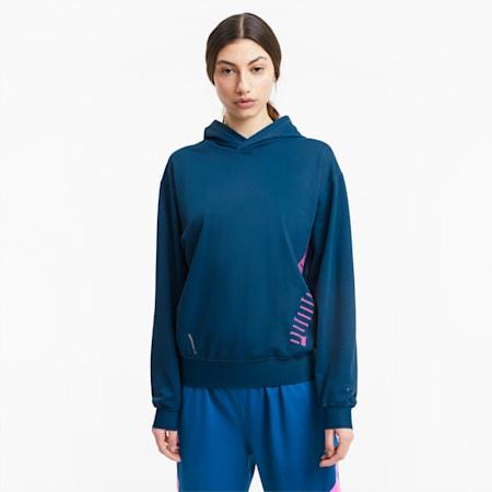 Stretch Knit Women's Training Hoodie, Digi-blue, small-IND