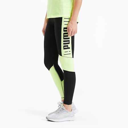 Logo High Waist 7/8 Women's Training Leggings, Puma Black-Fizzy Yellow, small