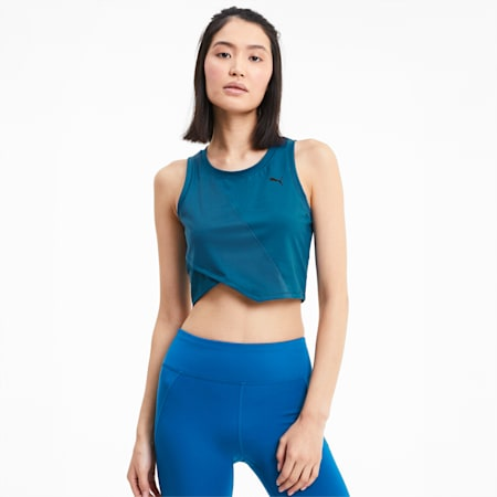 Studio Lace Women's Cropped Tank, Digi-blue, small